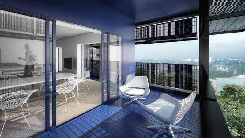 Projet hybride Black Swan à Strasbourg, la loggia d'un appartement